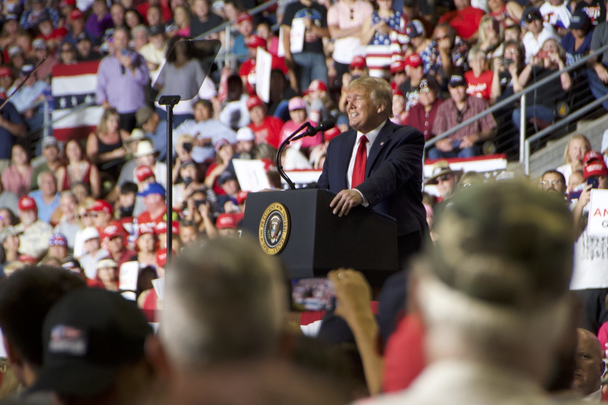 Trump speaks at his rally at the Santa Ana Star Center in Rio Rancho, New Mexico, on September 16, 2019.