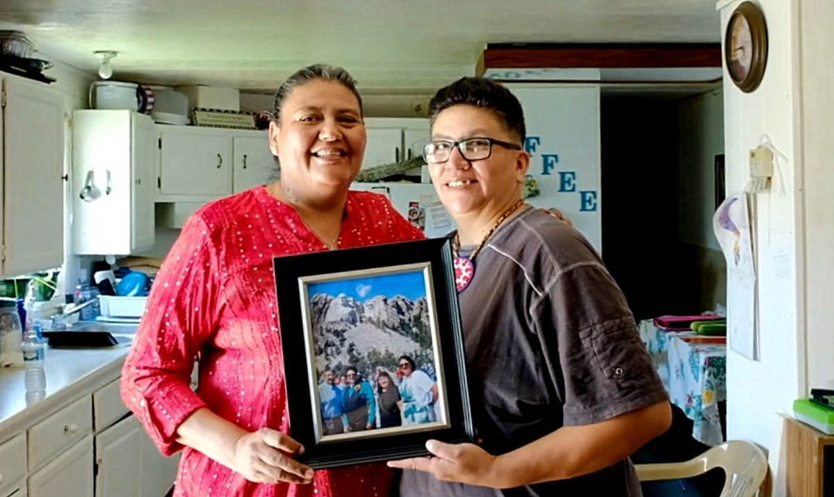 Monique 'Muffie' Mousseau and her wife Felipa De Leon, both Oglala Sioux tribal citizens, from the the Pine Ridge Reservation