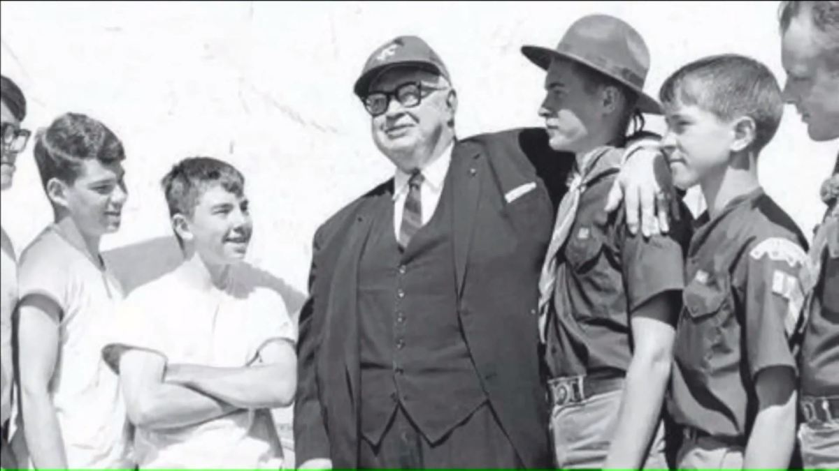 H. Roe Bartle and a group of scouts. (Video screen capture)