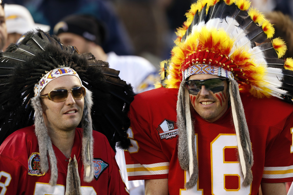 Kansas City Chiefs fans wear indian headdresses during the NFL week 9 football game against the San Diego Chargers on Thursday, Nov. 1, 2012 in San Diego. The Chargers won the game 31-13. (AP Photo/Paul Spinelli)