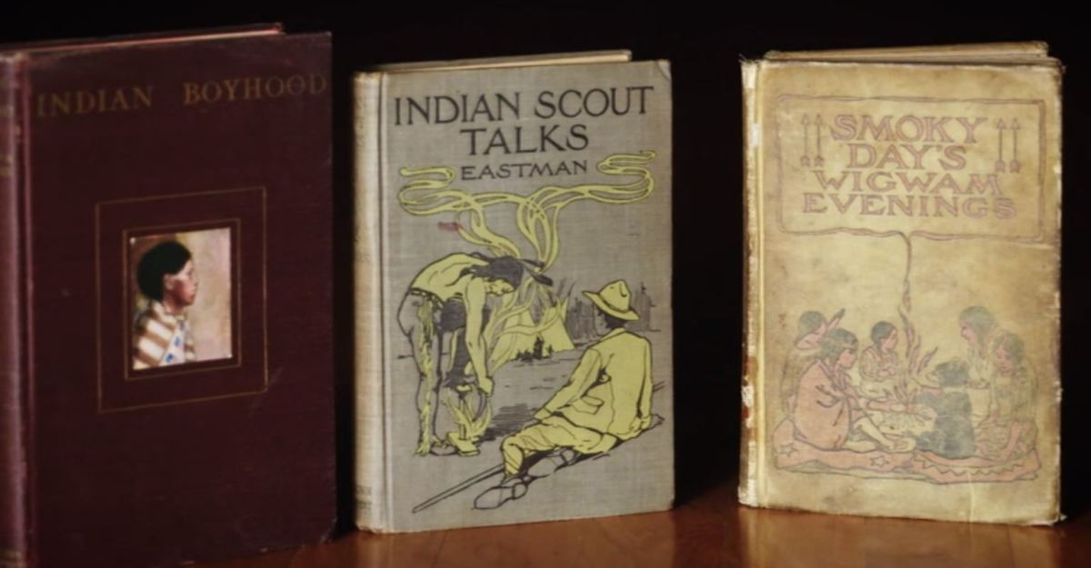 Some of Eastman's books - Screen capture Ohiyesa: The Soul of an Indian.