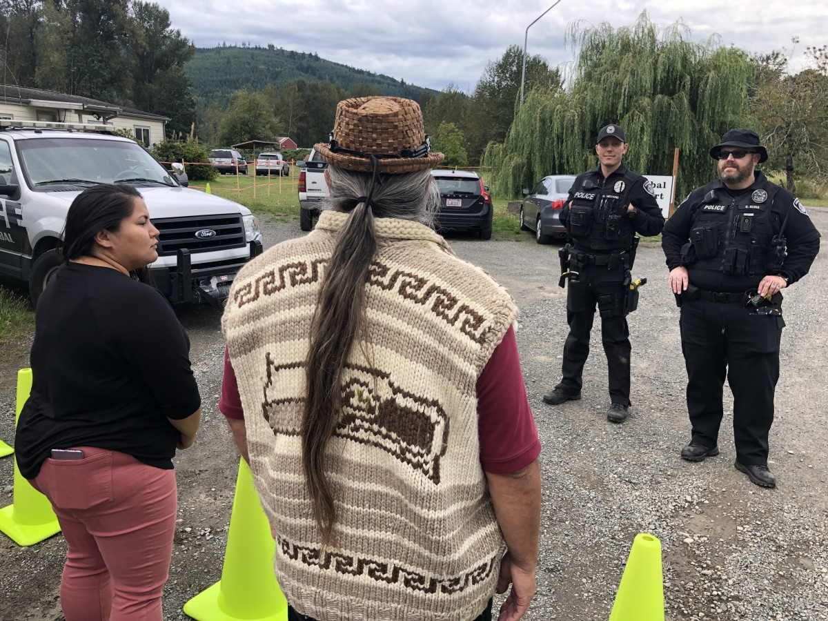 Pictured: Elile and George Adams encounter Nooksack Police while entering Tribal Court on September 12, 2019.