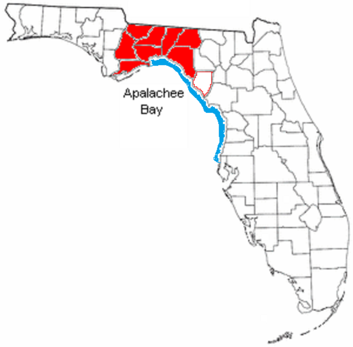 Pictured: This map shows the geological definition of the Big Bend Coast (blue) and the definition used by private agencies serving the Big Bend Region (red).