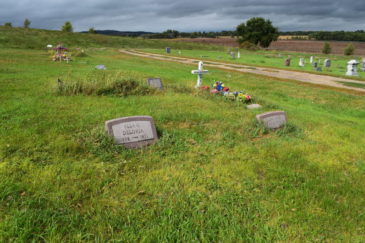 Many members of the Deloria family, originally from White Swan, are buried at the church cemetery. Including renowned ethnologist Ella Deloria. (Photo by Jacqueline Keeler)