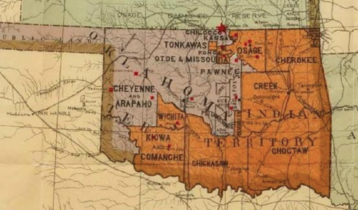 A map submitted as an exhibit in the Supreme Court case about the boundaries of tribal reservations in Oklahoma.