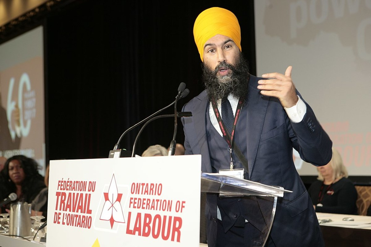 Pictured: Leader of the New Democratic Party and Member of Parliament for the riding of Burnaby South Jagmeet Singh at the Ontario Federation of Labour Convention in 2017.