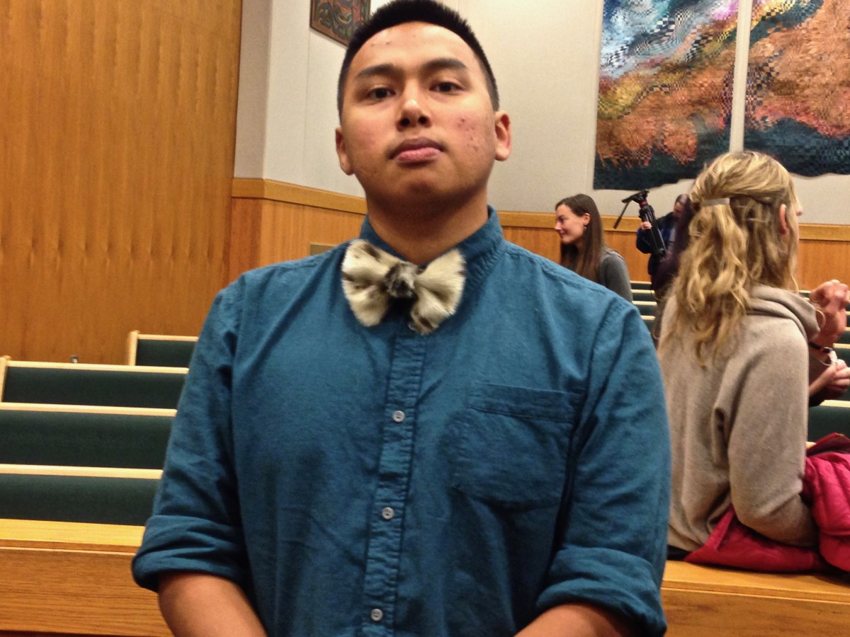 For court, lead plaintiff Esau Sinnok wore a bow tie made from the fur of a spotted seal, a dietary mainstay in his home town of Shishmaref, in northwest Alaska. Shrinking seea ice has made it more difficult to hunt seal, though. Shishmaref is one of several villages in danger of destruction by erosion and flooding.