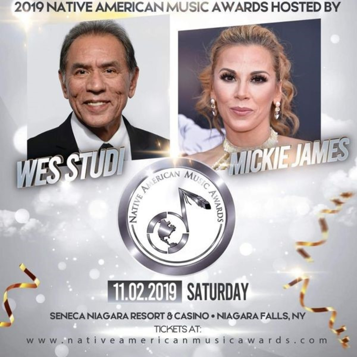 The Native American Music Awards have just announced Oscar honoree and Eastern Band of Cherokee actor Wes Studi as host of this year's Native American Music Awards or as it is also known, the Nammys. Studi will also be joined by Country music singer and WWE star Mickie James, Powhatan.