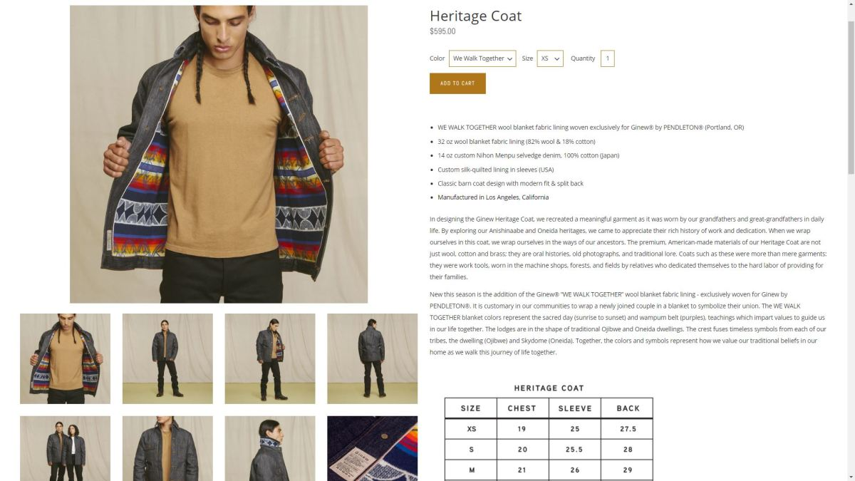The Heritage Coat from the GinewUsa.com website.