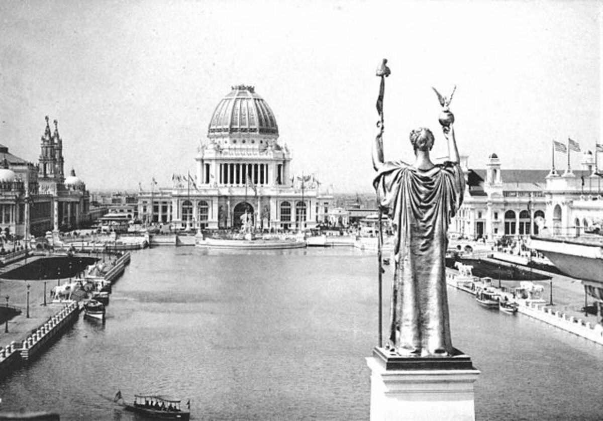 Pictured: Looking West From Peristyle, Court of Honor and Grand Basin of the 1893 World's Columbian Exposition (Chicago, Illinois).