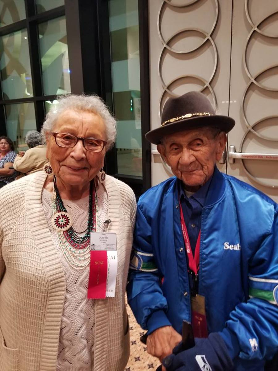 Juanita Ahtone and Brian Cladoosby's dad at NCAI.