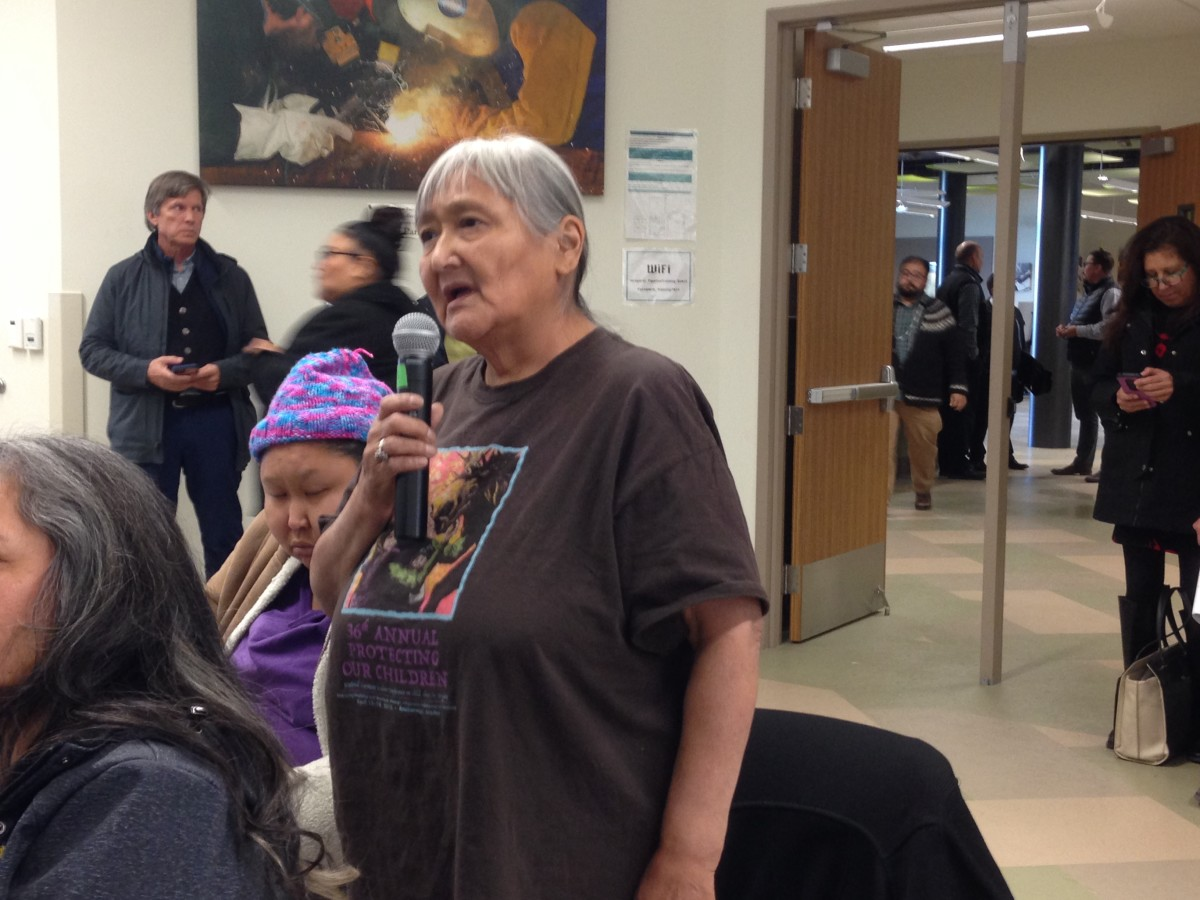 Athabascan Councilwoman Faye Ewan of the Native Village of Kluti-Kaah, asked about jobs as census workers. (Photo by Joaqlin Estus)