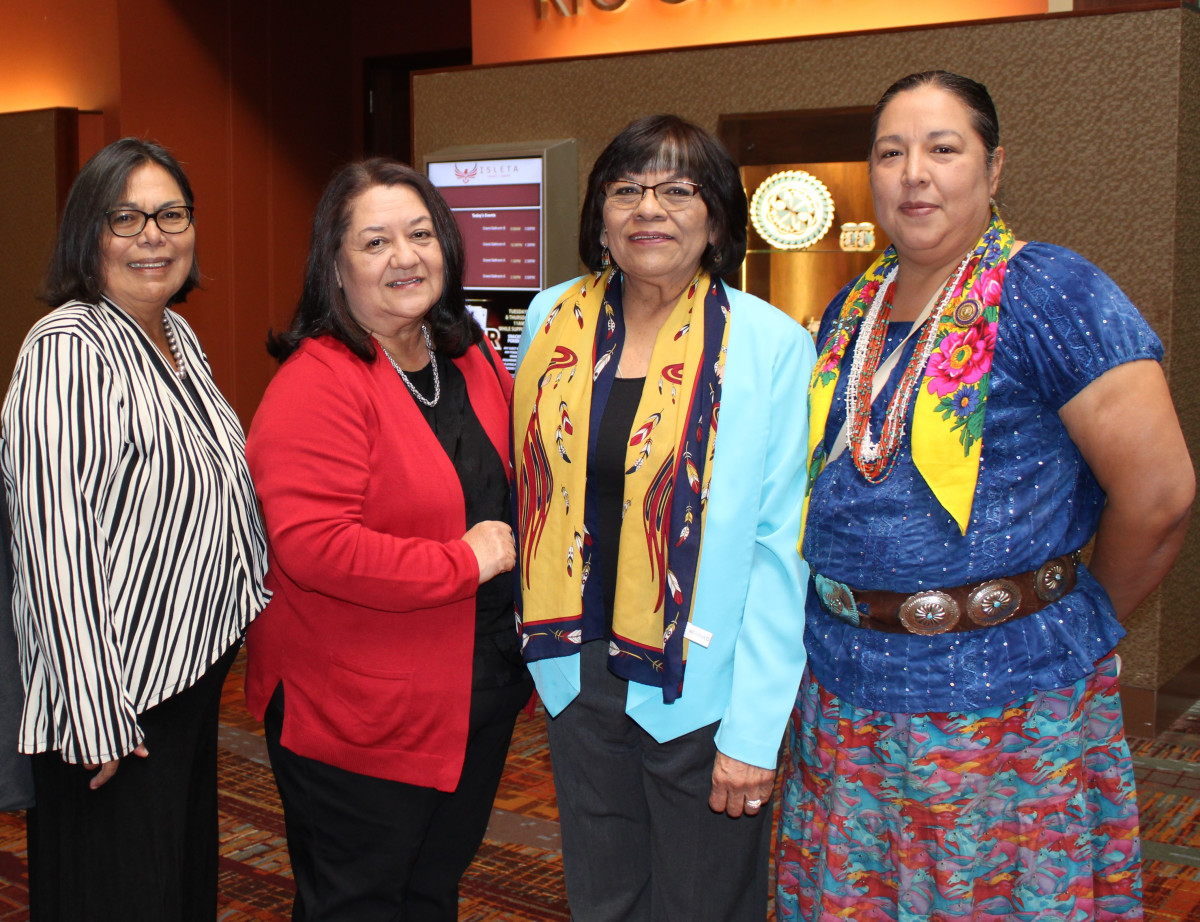 """Pictured: 24th Navajo Nation Council Delegate Amber Kanazbah Crotty with advocates addressing domestic violence within tribal communities on October 11, 2019 at the """"Community Healing Through Courageous Conversations"""" conference hosted by the Pueblo of Isleta in Albuquerque, New Mexico."""