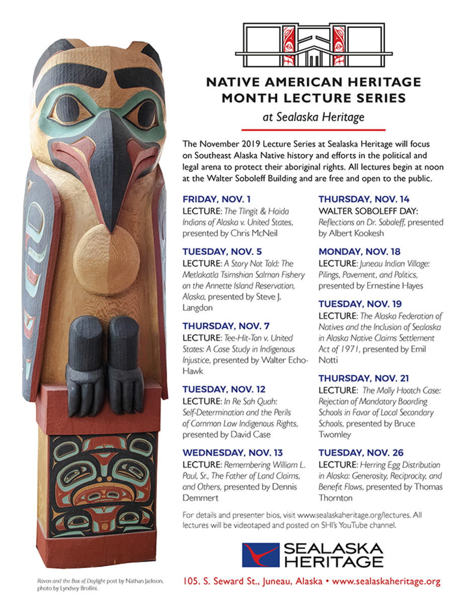 Pictured: Sealaska Heritage Institute flyer, Native American Heritage Month 2019 Lecture Series.