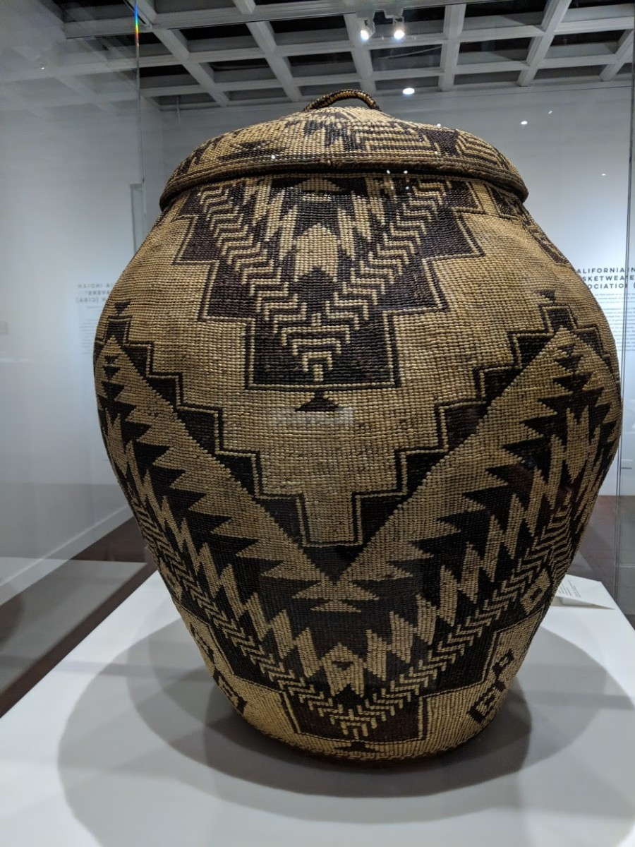 This basket is more than 3' tall. dated late 1800s made from willow, pine root, tule root, bear grass and maidenhair fern. It's from the Shasta people. (Photo by Patty Talahongva)