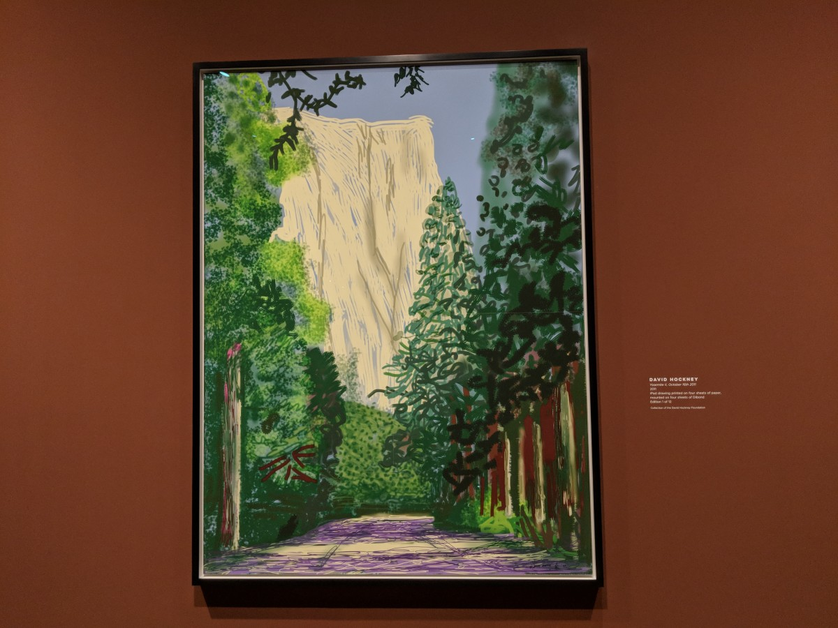David Hockney's drawings are made on an iPad and printed on paper. (Photo by Patty Talahongva)