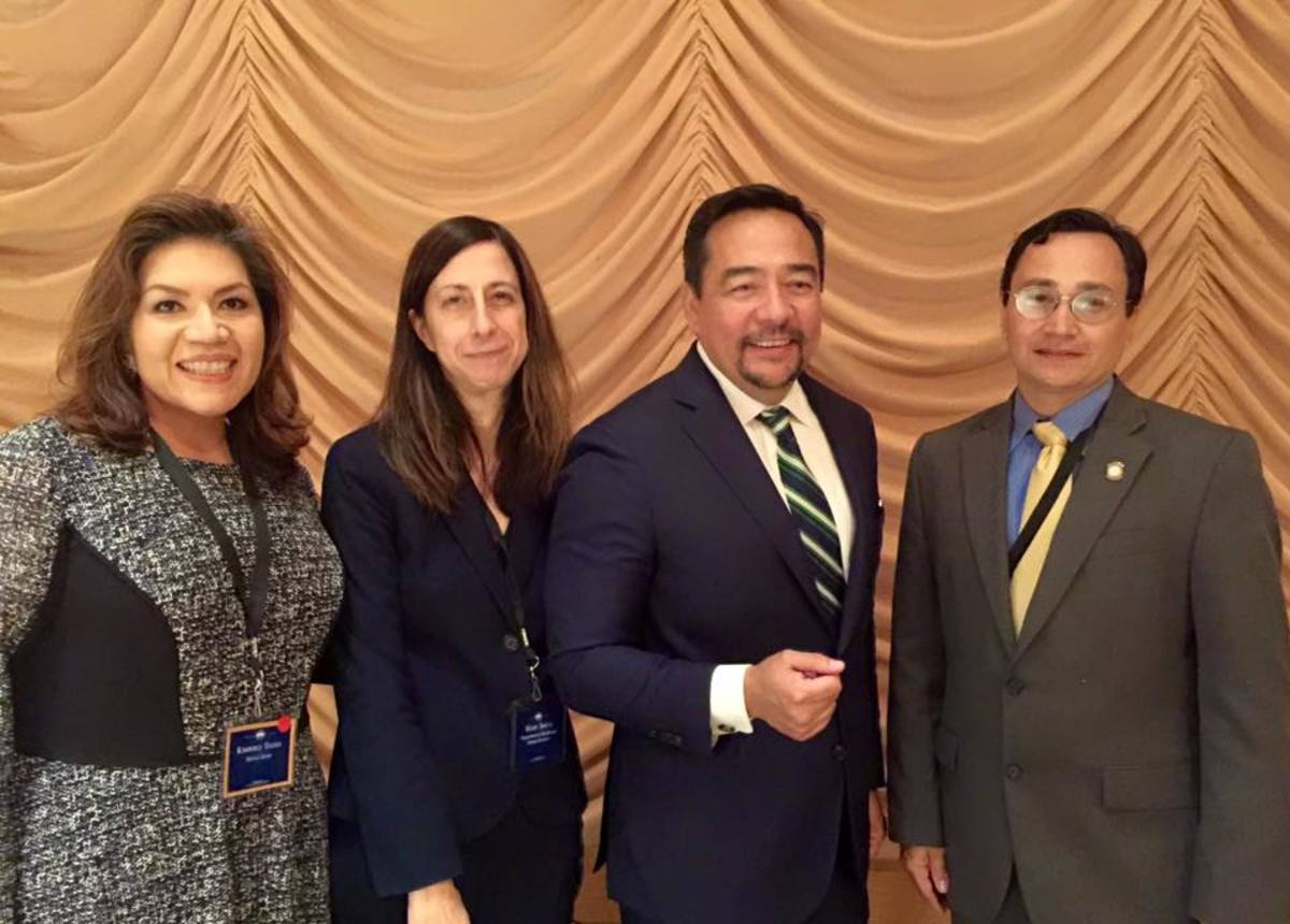"""""""VP of Government Relations Kim Teehee and Secretary of State Chuck Hoskin Jr. with Cherokee Nation citizens Mary Smith, deputy director of Indian Health Service, and Keith Harper, human rights ambassador to the United Nations"""" in 2015."""