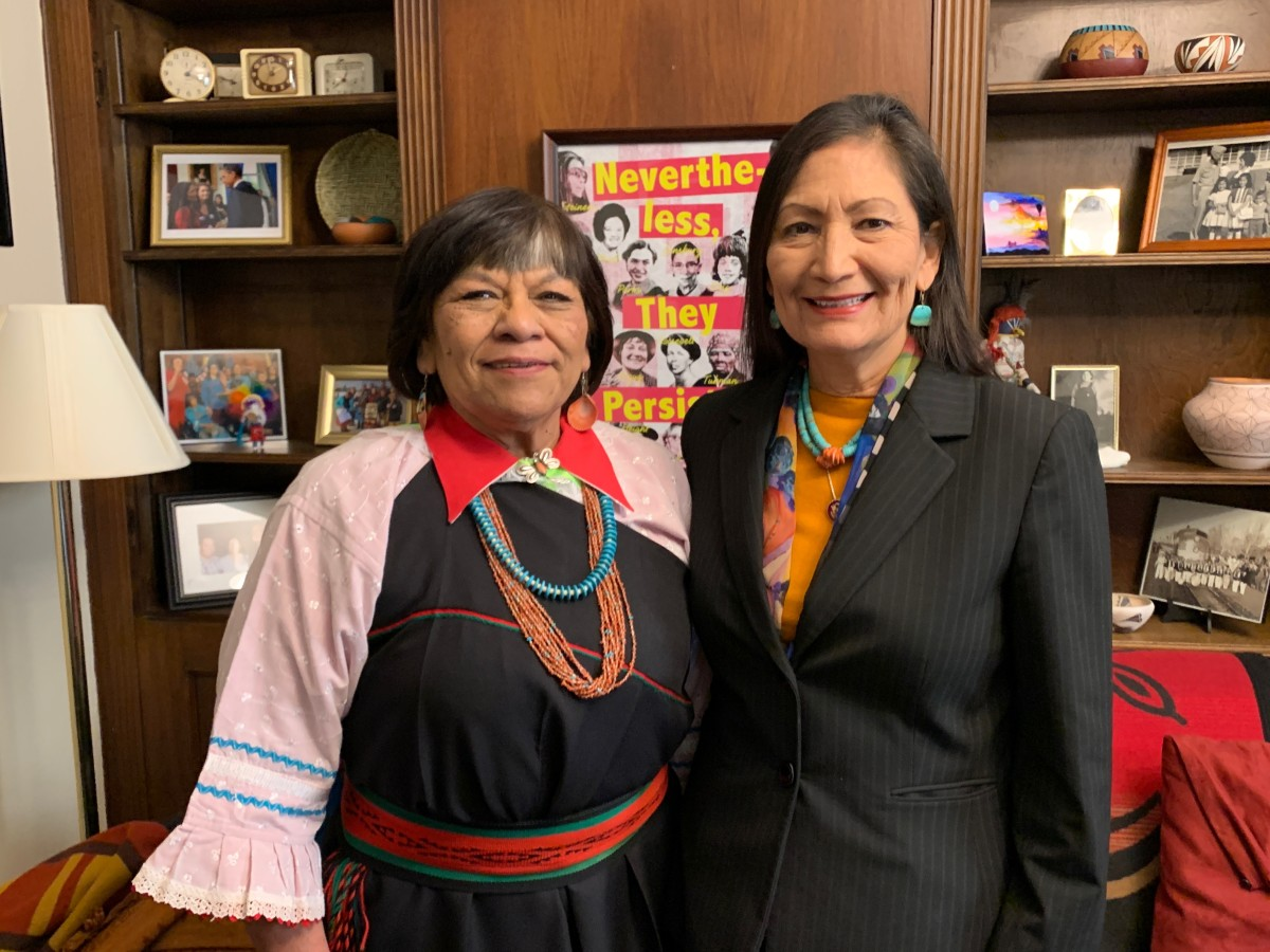 Isleta Chief Justice Verna Teller and Rep. Deb Haaland pose for a photo in Haaland's office before giving a historic invocation on the House floor. Photo by Jourdan Bennett-Begaye.
