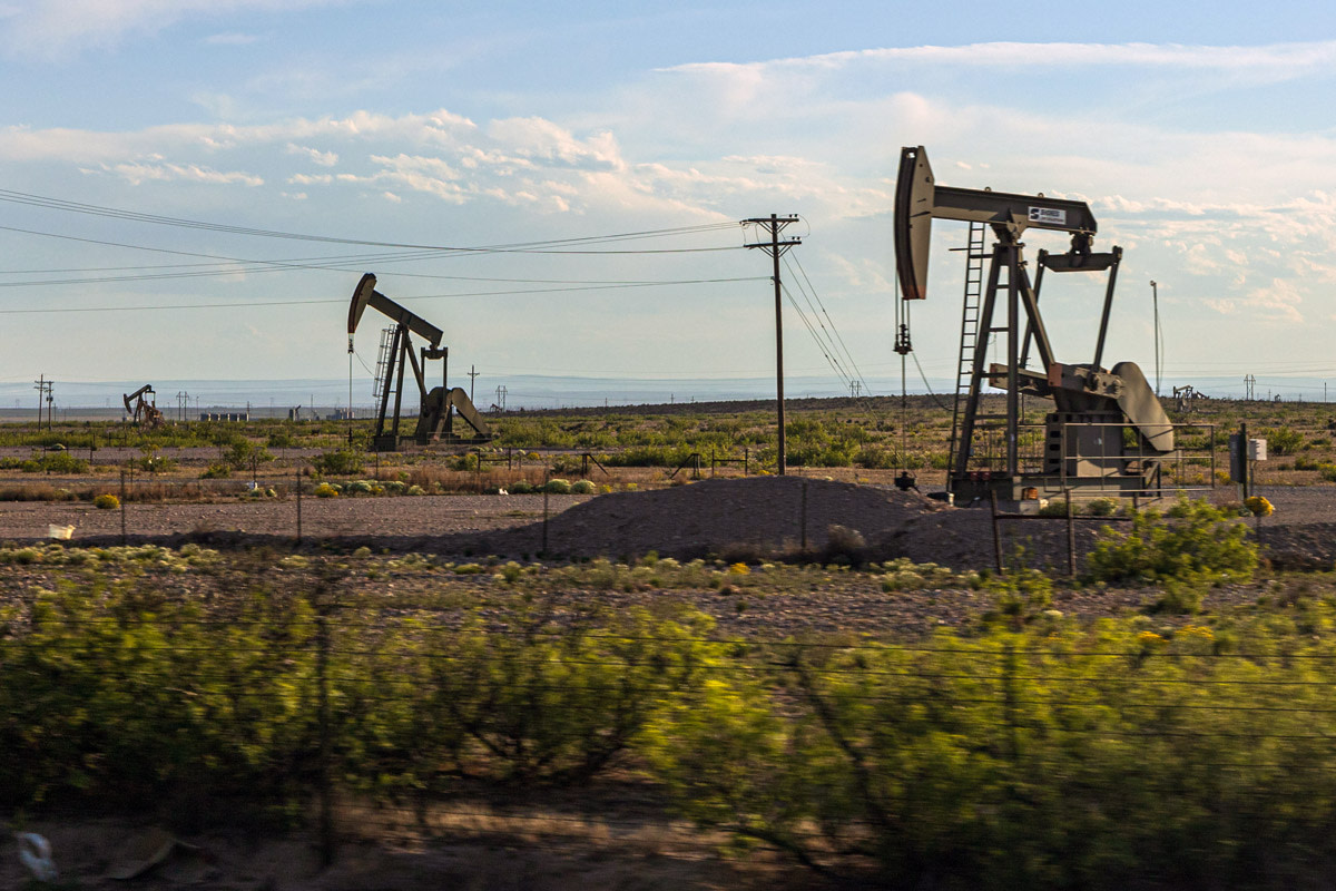 Pictured: Oil well pumpjacks near Eddy, New Mexico.