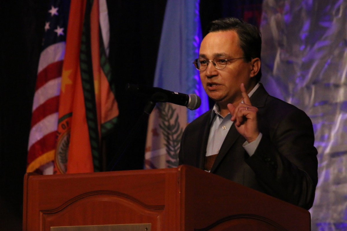 Pictured: Cherokee Nation Principal Chief Chuck Hoskin Jr. gives remarks during the tribe's Economic Impact forum at Hard Rock Hotel & Casino Tulsa.