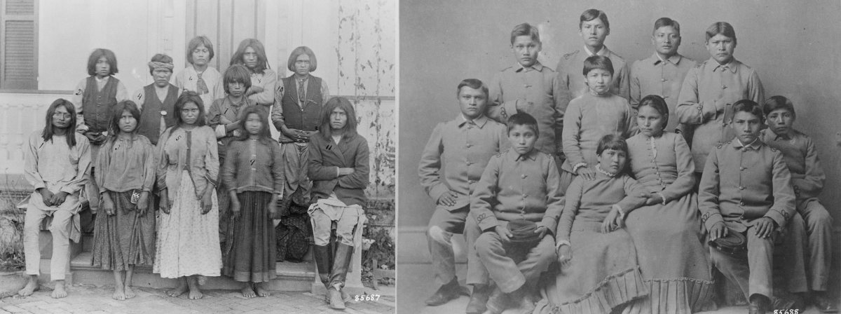 """Chiracahua Apaches arriving at the Carlisle Indian School, 1886, and after """"training"""" in 1886. From the Records of the Office of the Chief Signal Officer (National Archives)"""