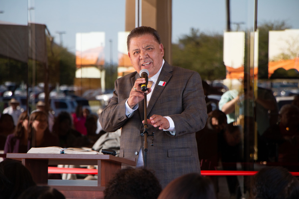 Chairman of the Pascua Yaqui Tribe, Robert Valencia addressing a crowd of more than 400 people at the grand opening ceremony of Estrella at Casino Del Sol on Nov. 13, 2019. (Courtesy photo)
