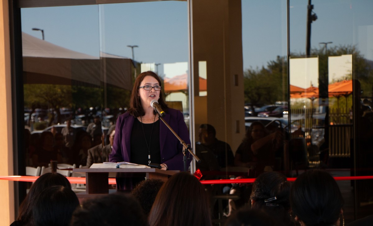 CEO of Casino Del Sol, Kimberly Van Amburg addressing a crowd of more than 400 people at the grand opening ceremony of Estrella at Casino Del Sol on Nov. 13, 2019. (Courtesy photo)