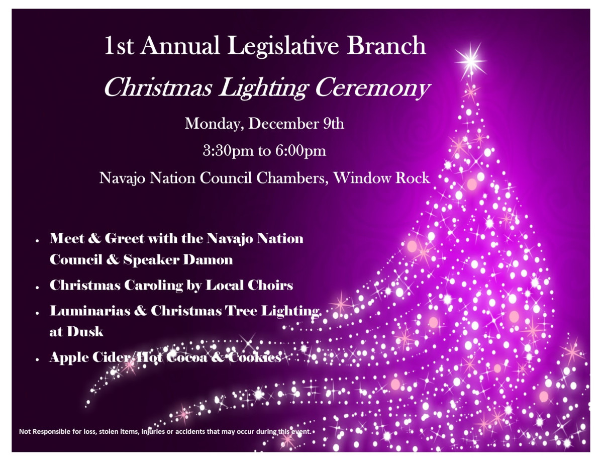 Pictured: Inaugural Navajo Nation Council Chamber Holiday Tree Lighting Ceremony flyer.