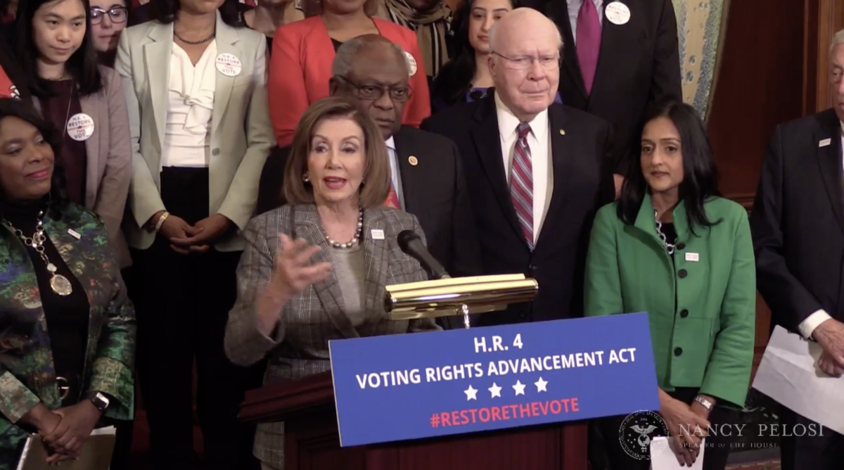 House Speaker Nancy Pelosi, D-California, at a press conference after the Voting Rights Advancement Act of 2019 passes in the House.