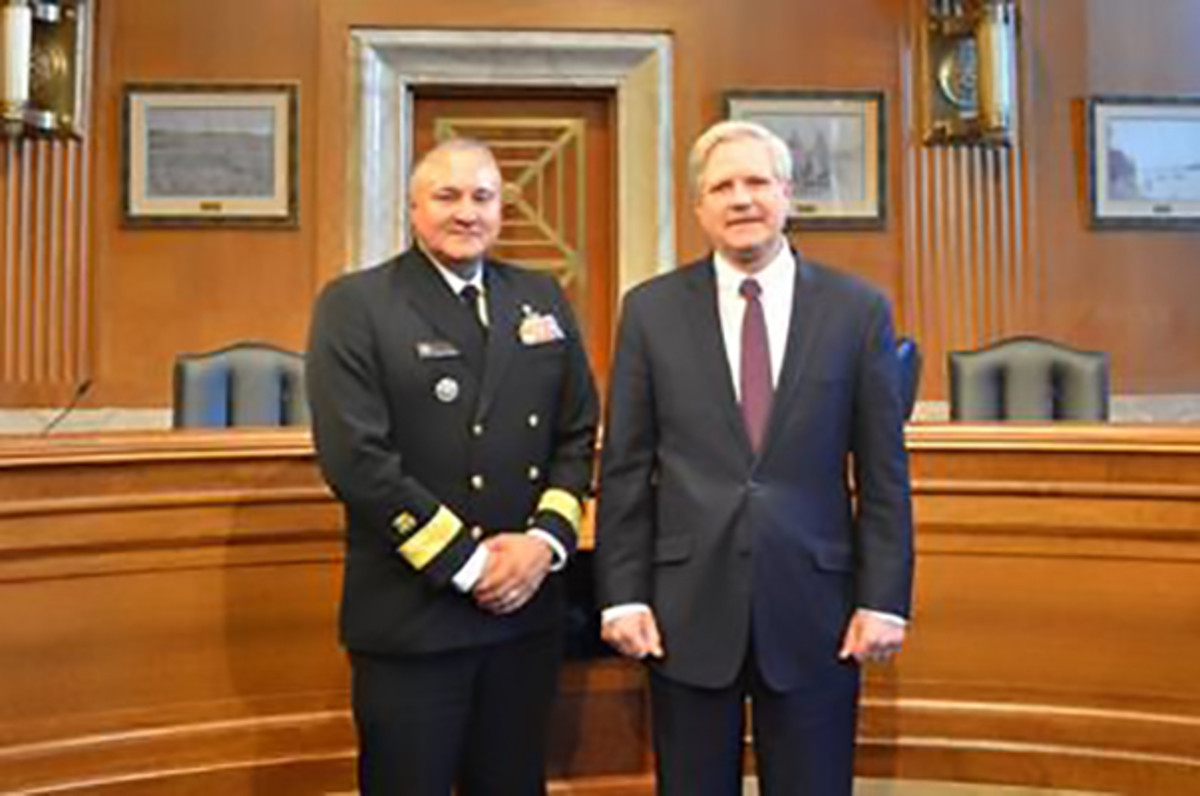 Pictured: Rear Admiral Michael D. Weahkee (L), and Senator John Hoeven (R-ND), Chairman of the Senate Committee on Indian Affairs (R).