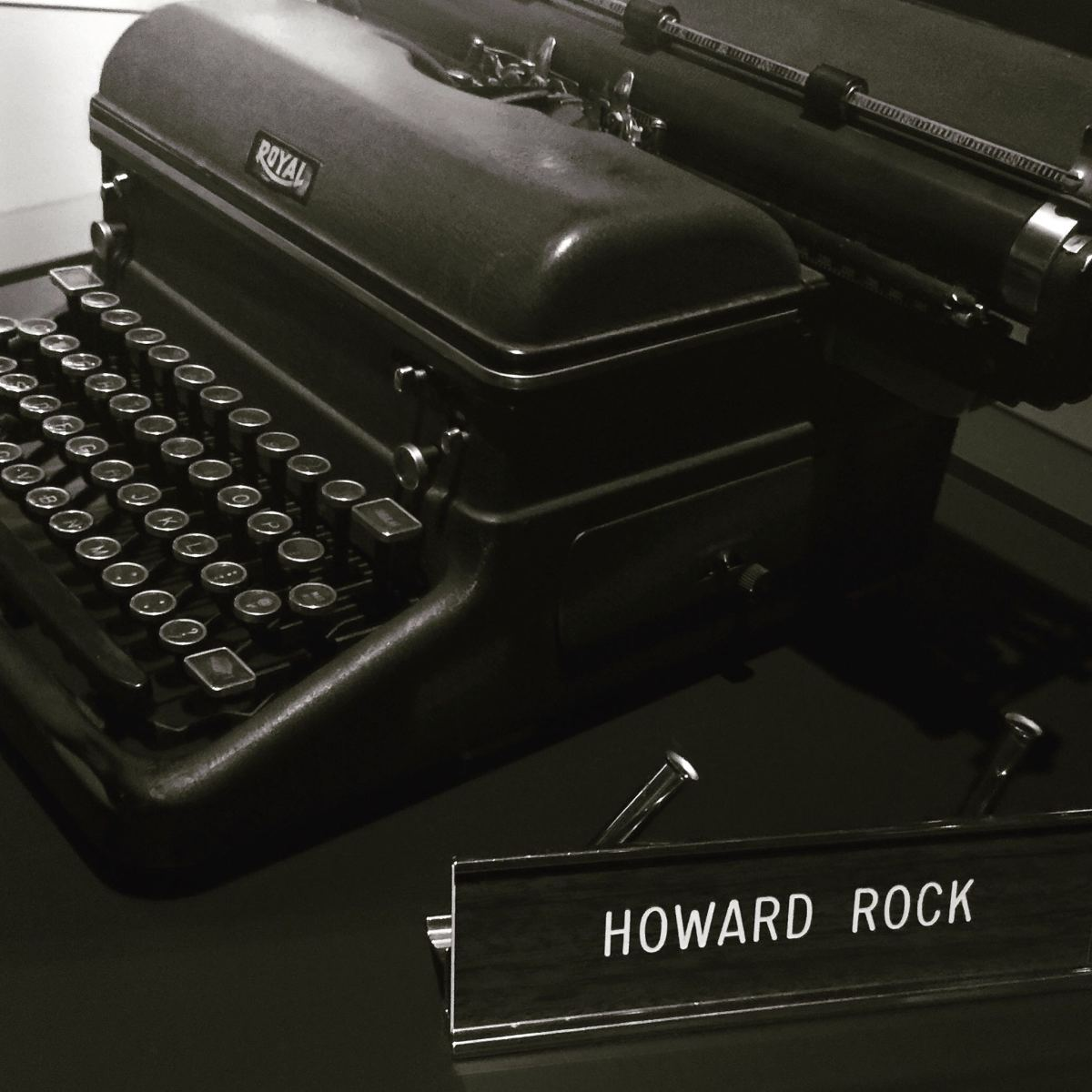 Howard Rock's typewriter and desk plate at the Anchorage Museum at Rasmuson Center.(Photo by Mark Trahant, Indian Country Today)