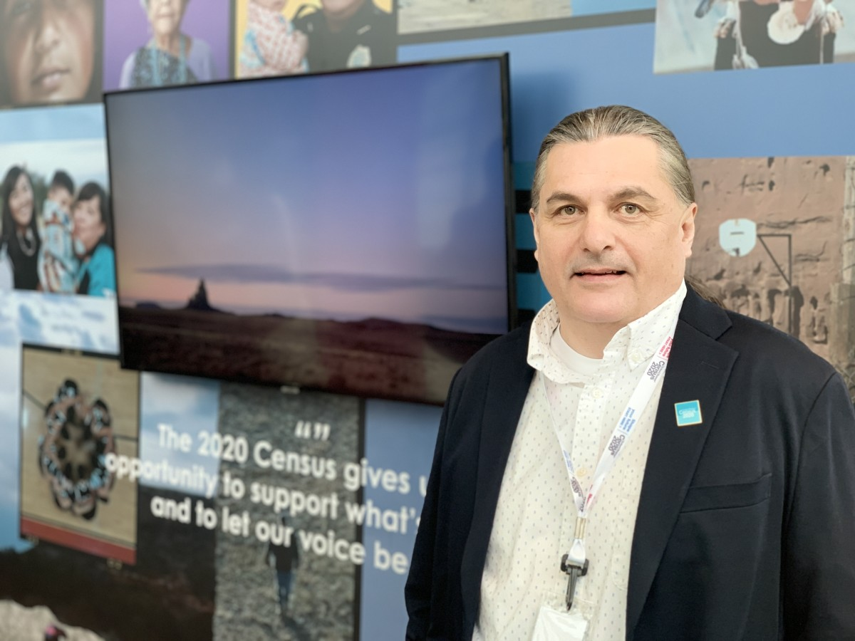 G&G Advertising President Michael Gray, Blackfeet and Little Shell Chippewa, at the 2020 Census advertising and outreach campaign launch in Washington, D.C., on January, 14, 2020. (Photo by Jourdan Bennett-Begaye)