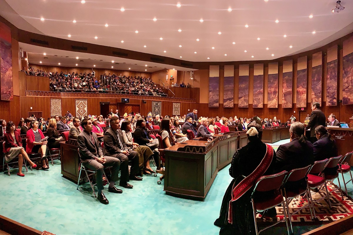 Pictured: Navajo Nation President Jonathan Nez addresses the 54th Arizona State Legislature during the 25th Annual Indian Nations and Tribes Legislative Day at the Arizona Capitol in Phoenix, Arizona on January15, 2020.