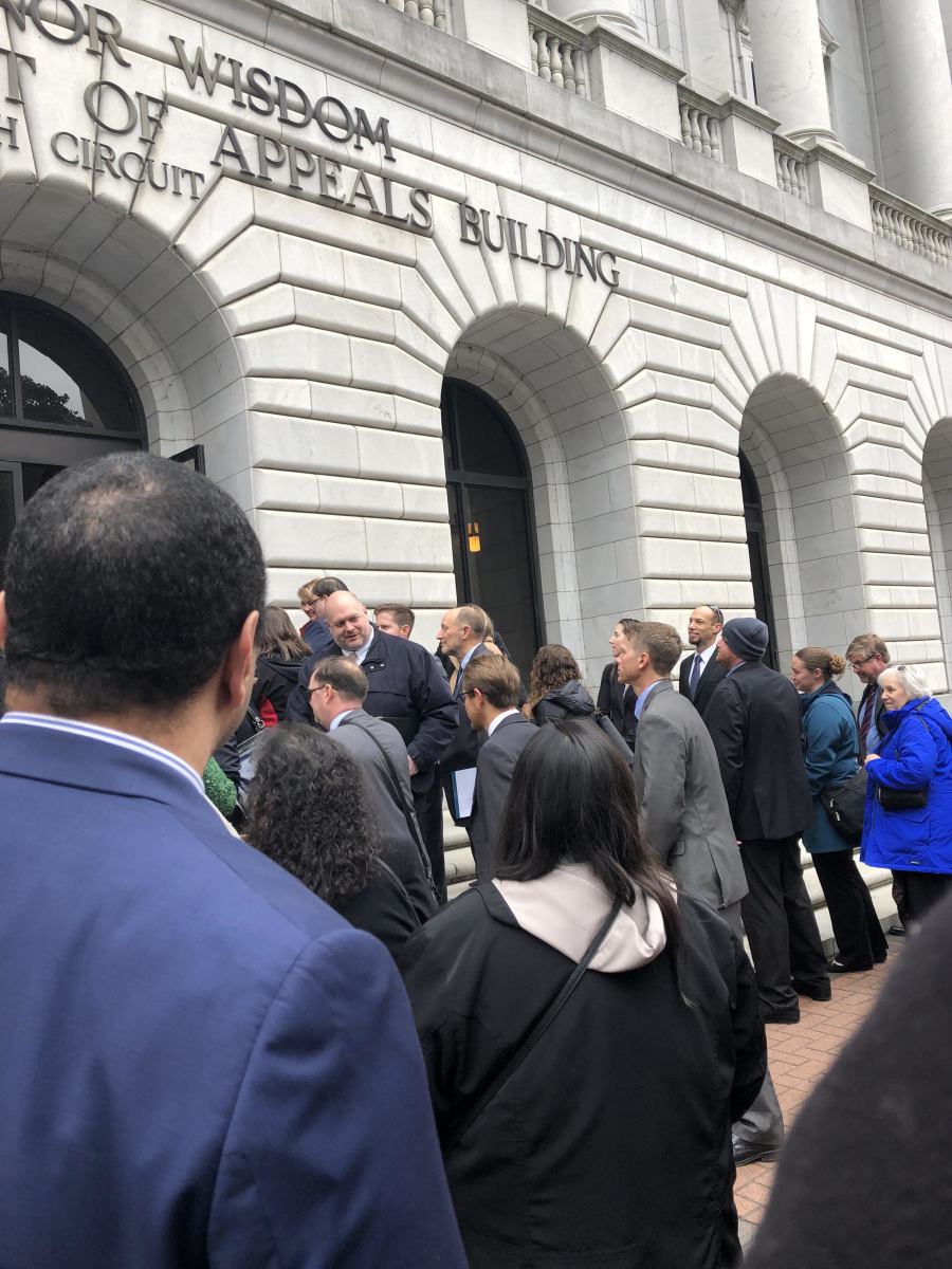 Crowd waits to enter US 5th circuit court of appeals building in New Orleans for en banc hearing on Indian Child Welfare Act. (Photo by Mary Annette Pember, Indian Country Today)