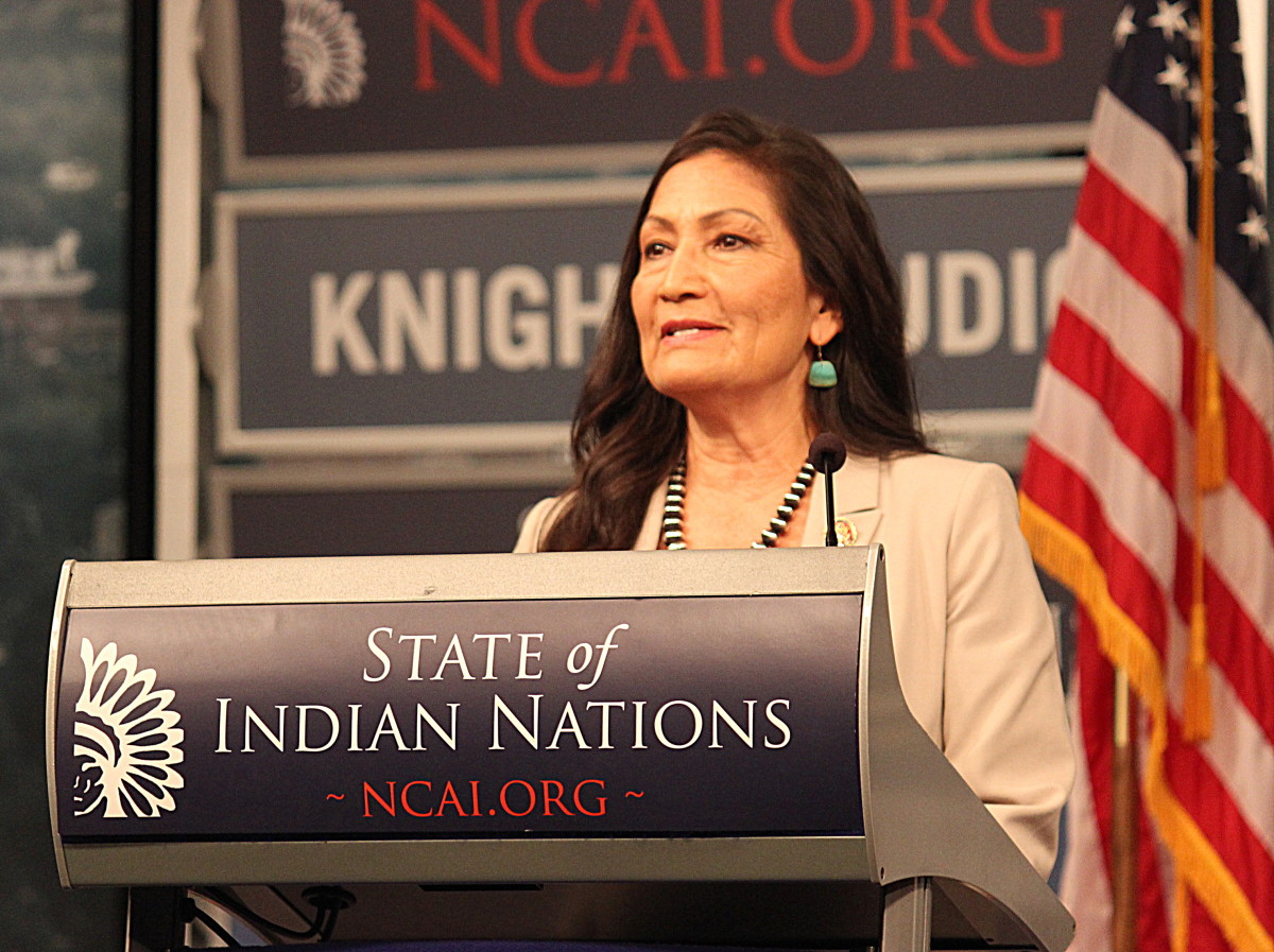 After a gracious bout of applause, including a standing ovation, Congresswoman Deb Haaland (NM-01) delivered her Congressional response at the State of Indian Nations. (Photo: Vincent Schilling)