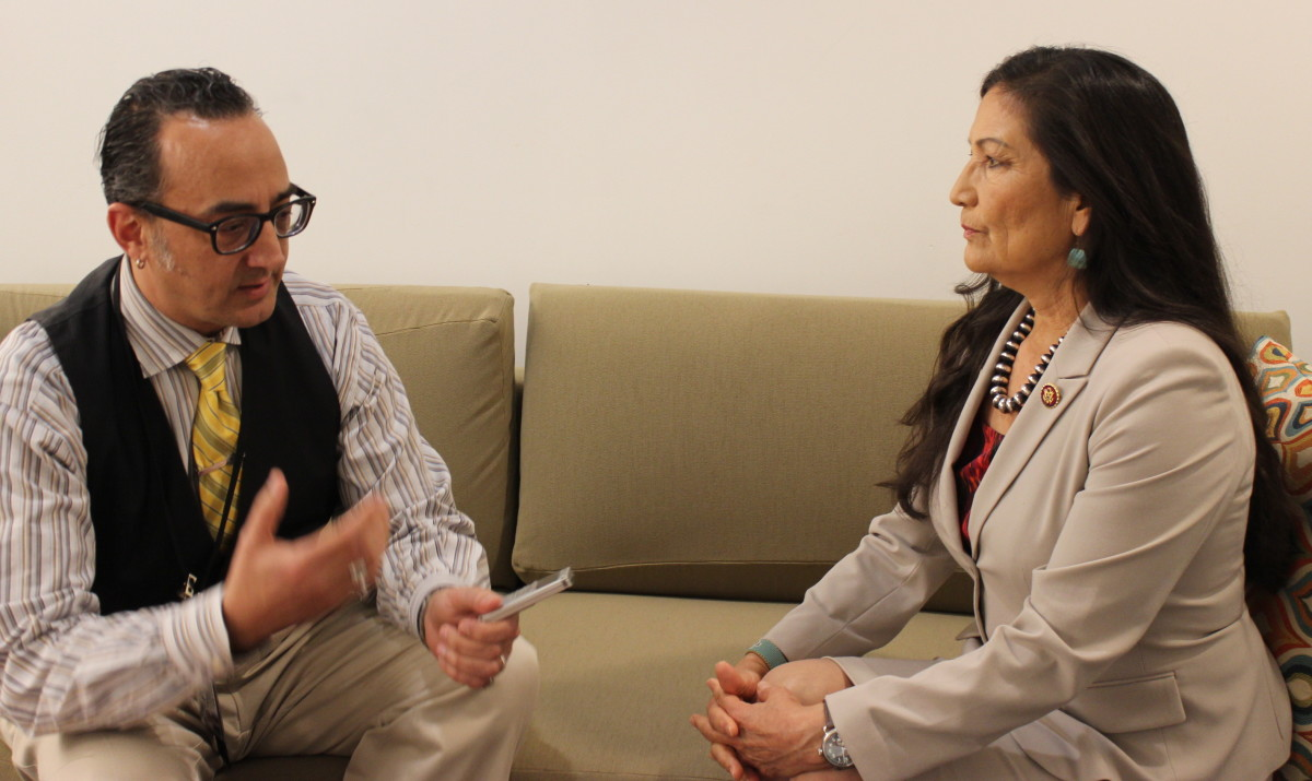 Indian Country Today associate editor Vincent Schilling speaks with Rep. Deb Haaland in the green room prior to the State of Indian Nation's address in Washington D.C.'s Newseum Studios. (File Photo)