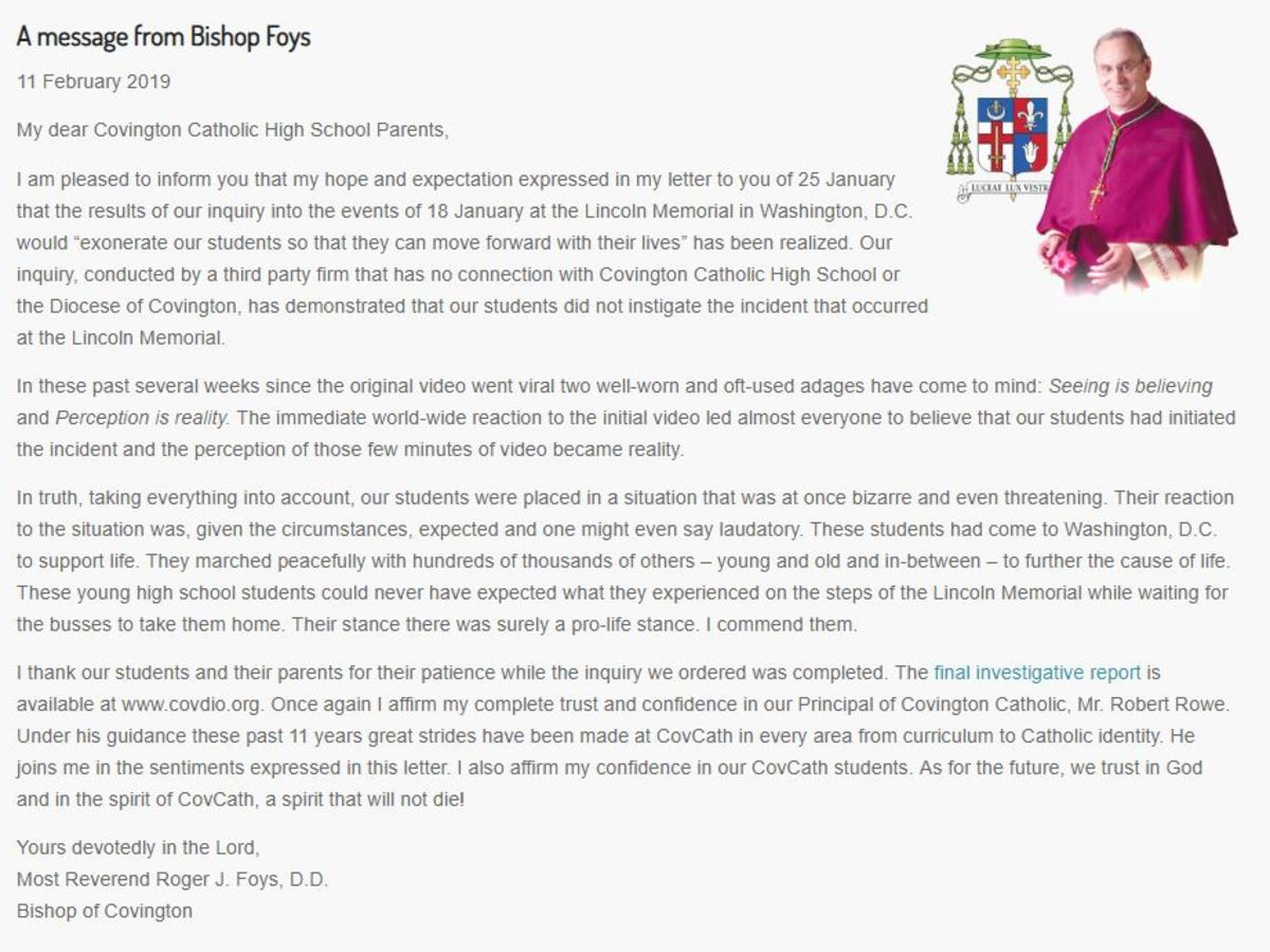 Bishop Foys' letter from https://www.covdio.org/
