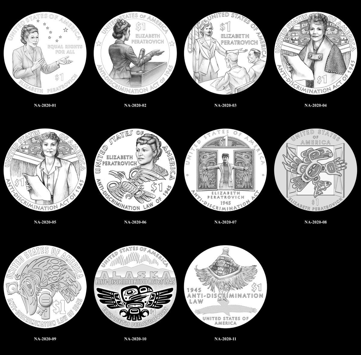 Peratrovich will also be commemorated on a one dollar coin, to be issued in 2020. There are eleven proposed designs. (Photo courtesy Office of AK Gov. Bill Walker)