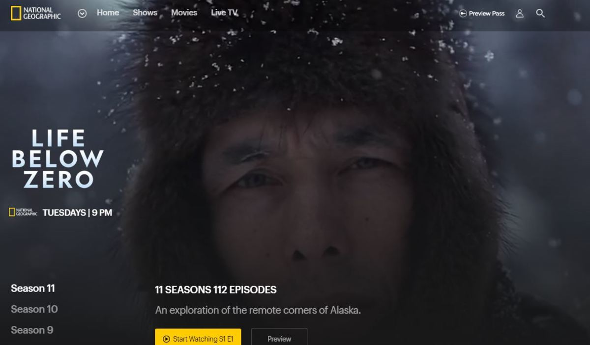 A screen capture from the Nat Geo 'Life Below Zero' website page