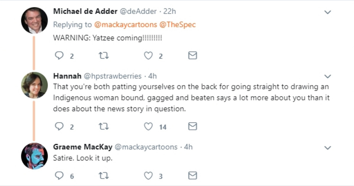 de Adder joked to MacKay on Twitter, seemingly about anticipated criticism. MacKay dismisses a woman critical of both men and levity about a serious concern.