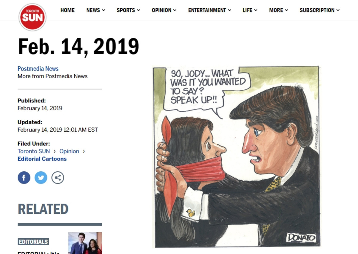 Andy Donato's cartoon of Wilson-Raybould being silenced by Trudeau with a red gag.