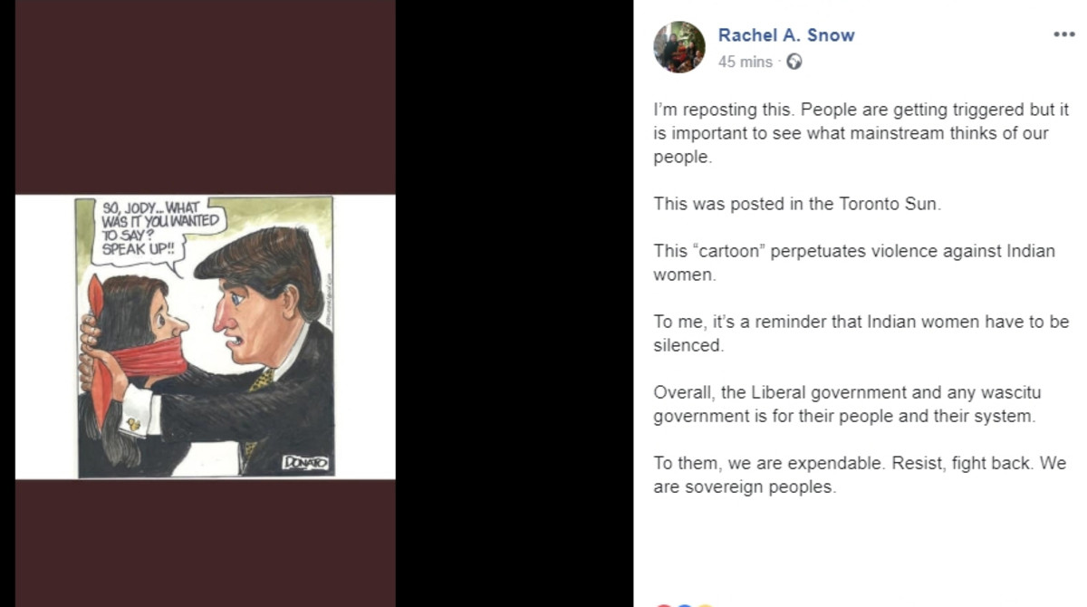 Rachel A. Snow, Eyahey Nakoda, was one of many Indigenous people on Facebook critical of Andy Donato's cartoon.