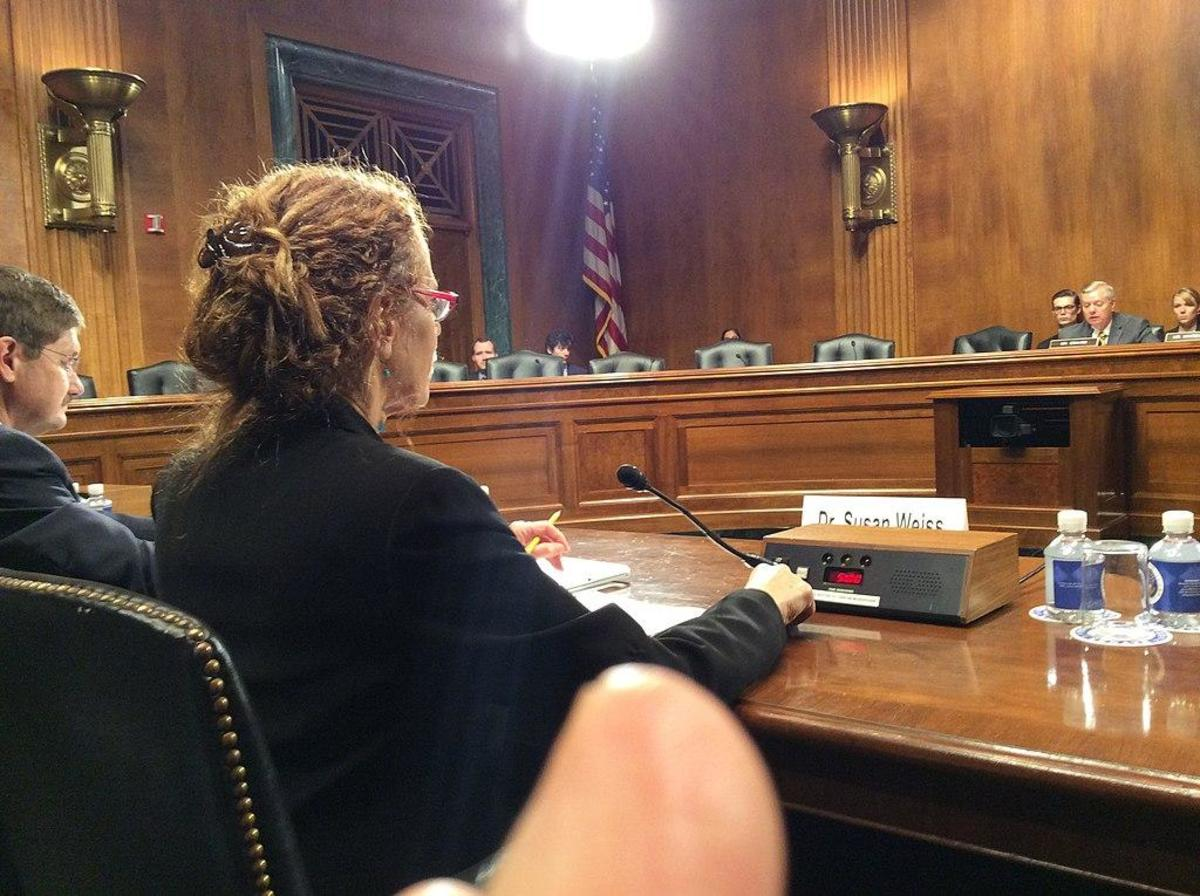"Dr. Susan Weiss of the National Institute on Drug Abuse testifies July 13, 2016 before a U.S. Senate committee on the therapeutic benefits of cannabis in treating pain, epilepsy and PTSD. Several tribes are selling medical marijuana. ""We have many customers who use medicinal marijuana who say they are off the pain meds now,"" Ely Shoshone Chairwoman Diane Buckner told Indian Country Today. (NIDA/Public domain)"