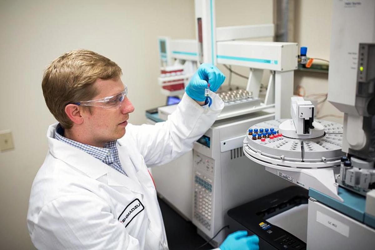 Puyallup Tribe's Medicine Creek Analytics lab manager Kyle Shelton conducts a test on a cannabis sample to determine its potency and safety. The lab may expand into testing cannabis used for medicinal uses at the tribe's Salish Cancer Center. (Photo: Courtesy Medicine Creek Analytics)