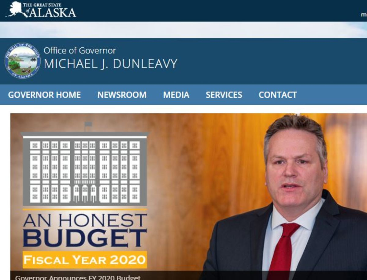 Screen capture from the Governor's website.
