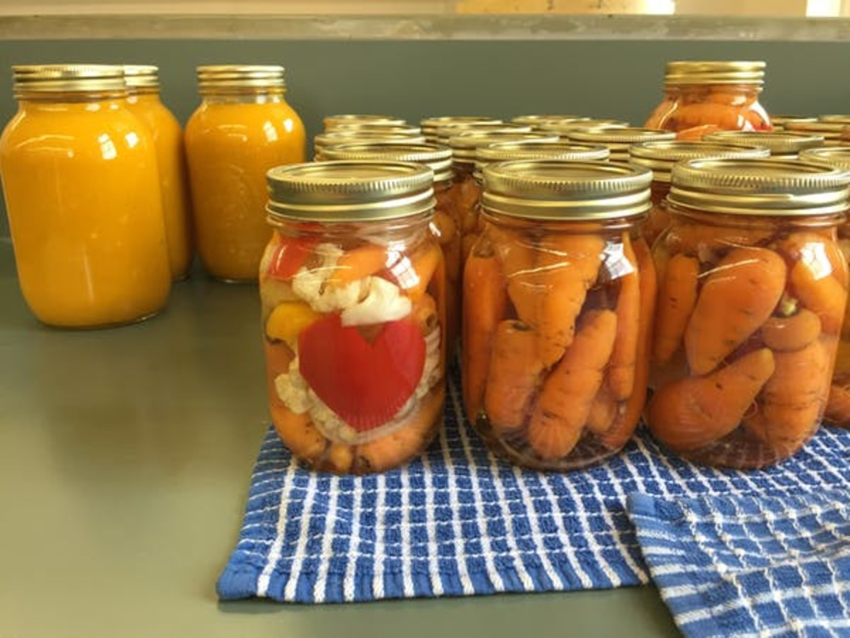 Preserving foods from the garden at a fall 2018 canning workshop.