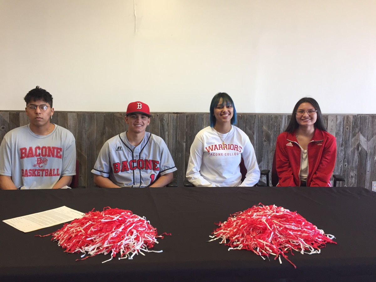 Bacone College Spring 2019 signees from left to right: Isiah Nanaeto (Kickapoo) - basketball, Dawson Orso (MOWA Band of Choctaw Indians) - baseball, Rahshauna Macon (Cheyenne & Arapaho) - basketball, and Mariah Camp (Chickasaw Nation) - cross country.