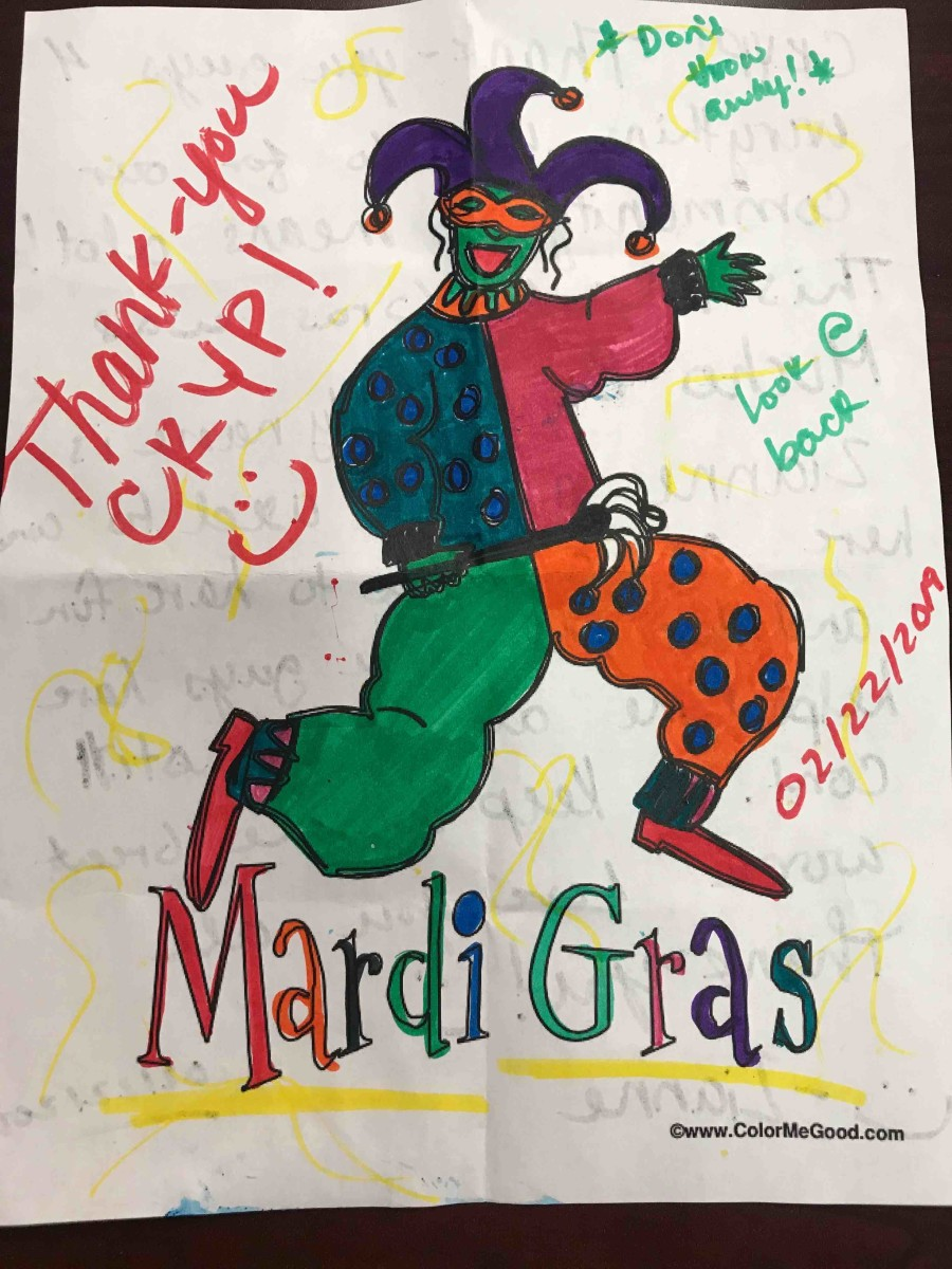 A colorful note thanking Cheyenne River Youth Project staff for the Masquerade Ball & Community Dinner