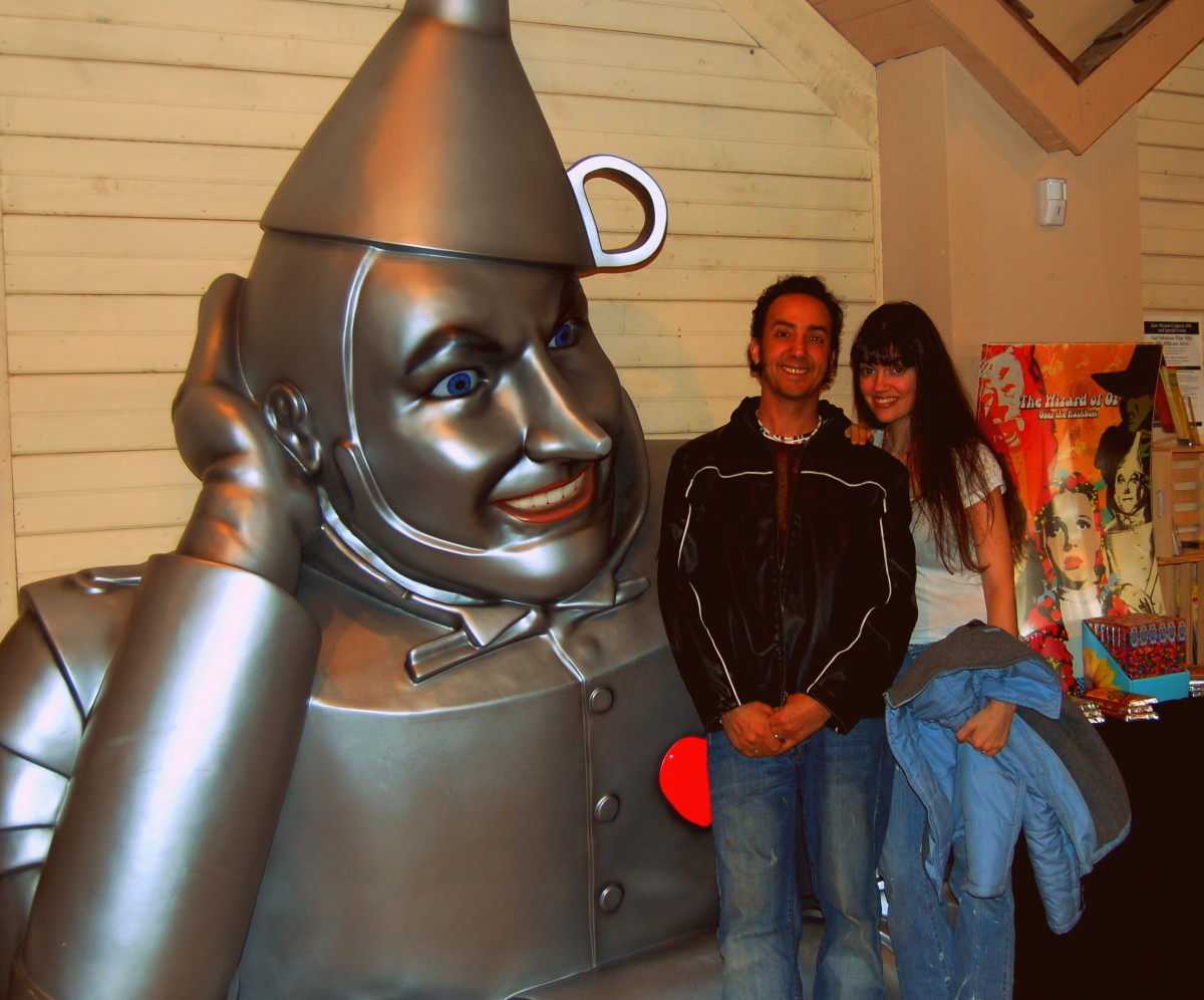 Me and my lovely wife Delores at the Wizard of Oz museum traveling across country.