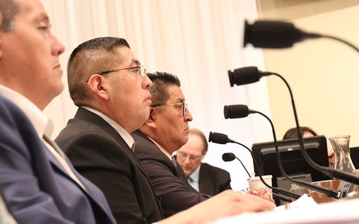 From left, Ute Chairman Tony Small, Pueblo of Zuni, Lt. Gov. Carleton Bowekaty and Hopi Vice Chairman Clark W. Tenakhongva wait to testify before a House panel. (Photo by Keerthi Vedantam/Cronkite News)